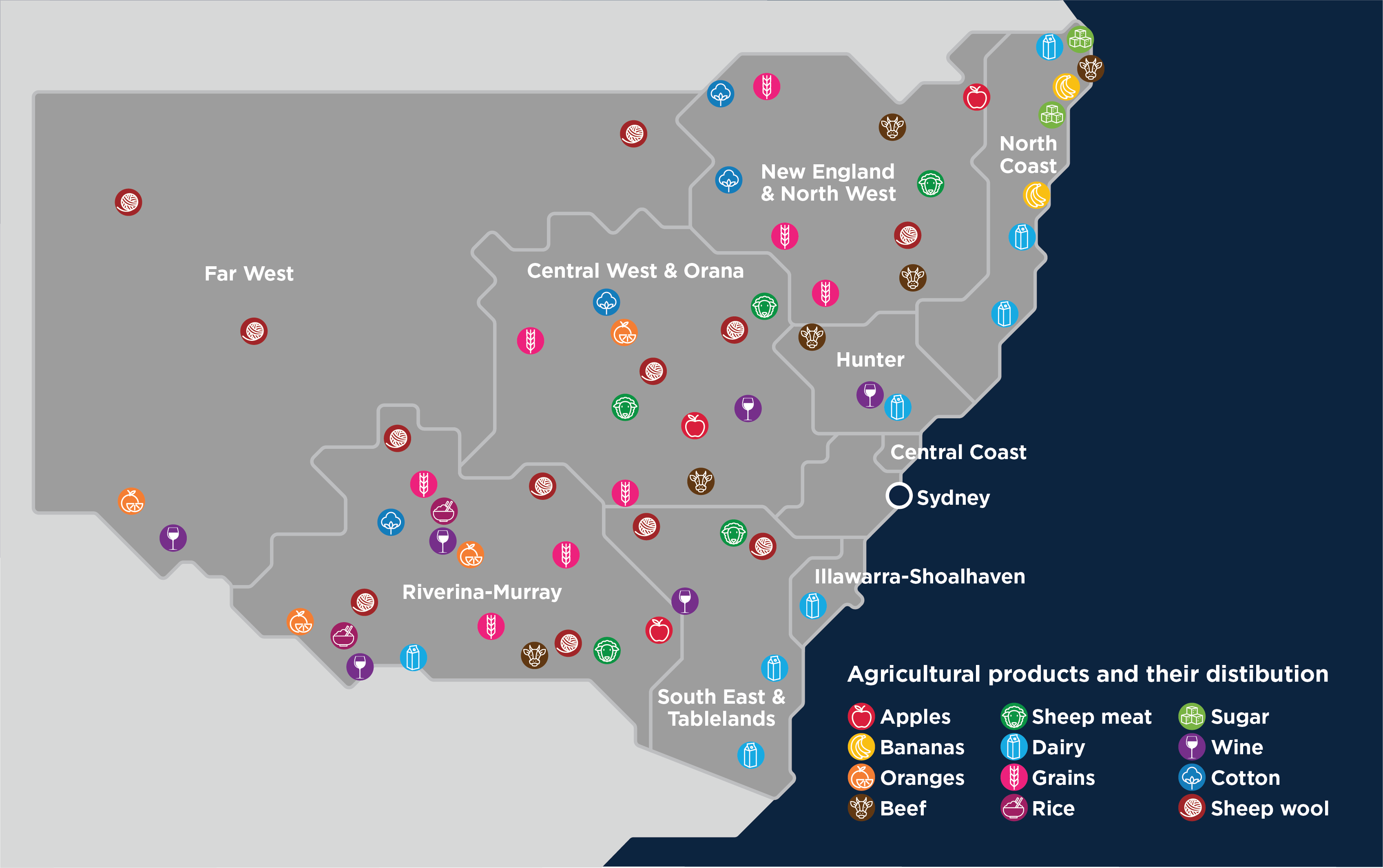 Which commodities are produced in Regional NSW?